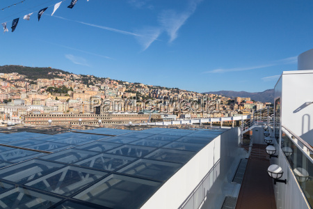 cityscape view of genoa from upper