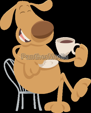 dog drinking coffee cartoon