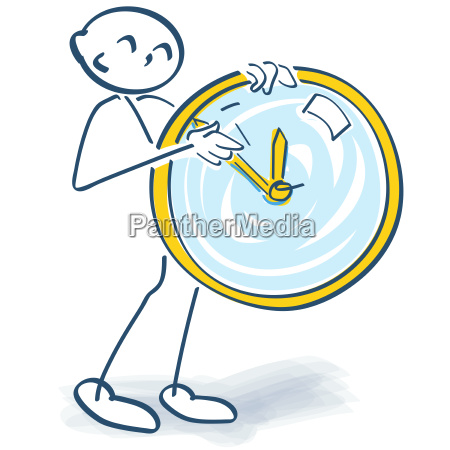 stick figure represents a clock