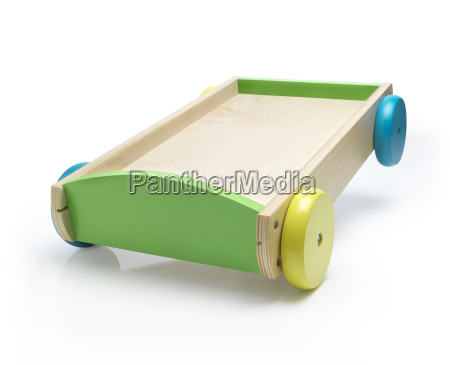 wooden carriage toy with colorful wheels