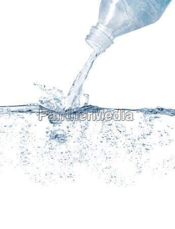water bottle and splashing water surface