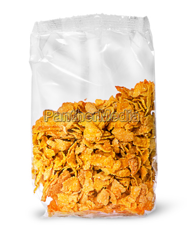 sealed package of cornflakes vertically