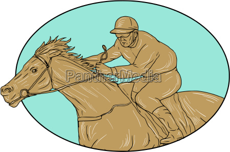 jockey horse racing oval drawing