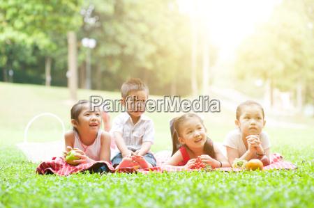 asian children picnics outdoor