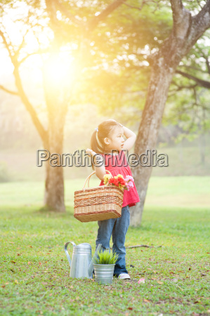 asian child picnic outdoors