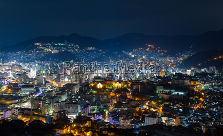 nagasaki skyline in japan at night