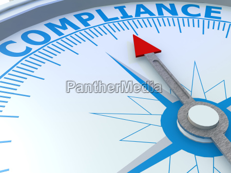 compliance word on compass isolated
