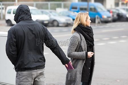 man stealing purse on street