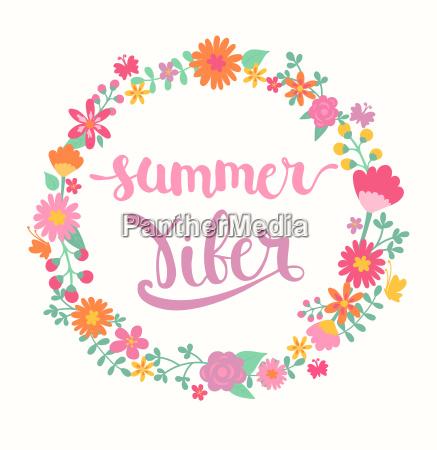 summer viber lettering in floral circle