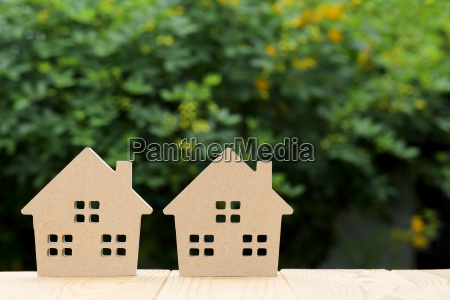 wooden toy house with natural colored