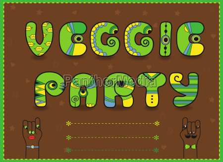 veggie party funny invitation unusual font