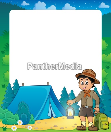 summer frame with scout boy theme
