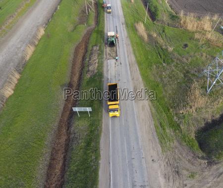 top view of the road repair