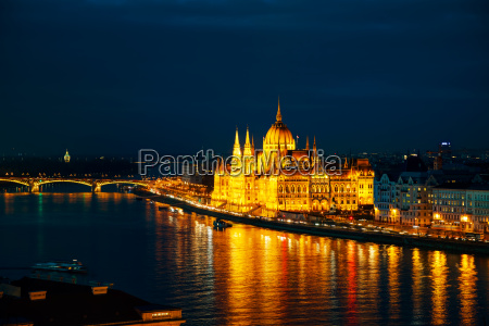 overview of budapest with the parliament