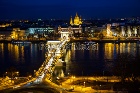 overview of budapest at night
