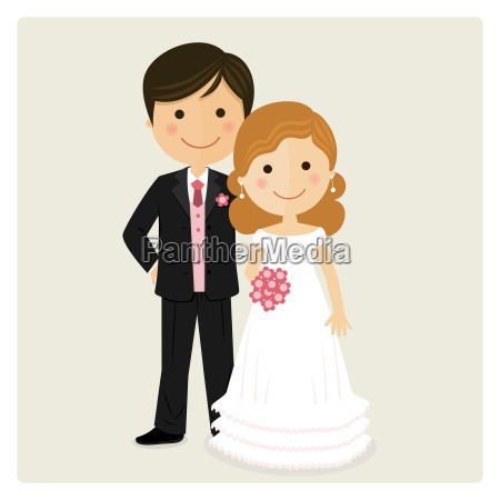 illustration of happy just married on