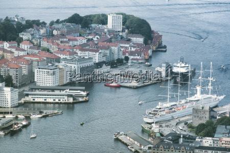 aerial view of bergen city norway