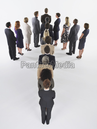 group of businesspeople on arrow formation