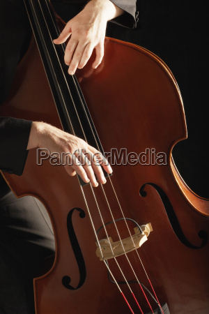 detail of man playing double bass