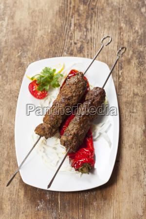 kebap skewers with grilled peppers