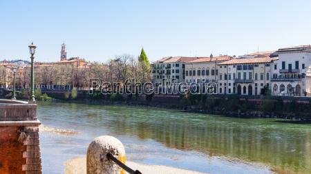 waterfronts in verona city in spring