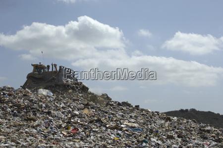 digger at landfill site