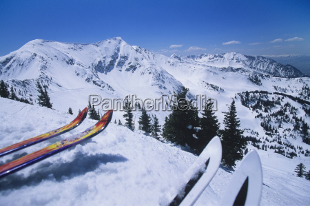 two pairs of skis on edge