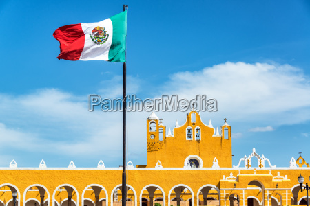 izamal monastery and flag