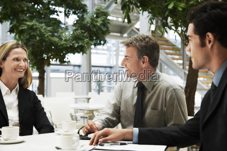 business people having a discussion at