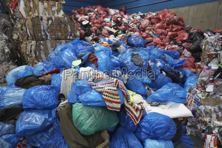 rubbish bags at recycling plant