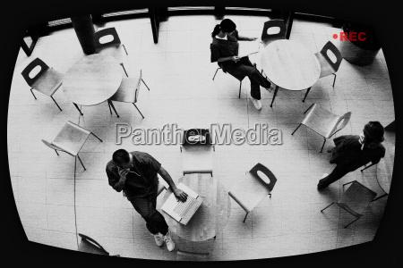 surveillance screen showing nurses in hospital