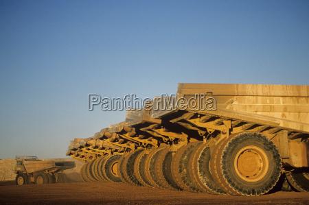 ore hauling trucks in row telfer