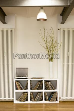 vinyl records in shelf at home
