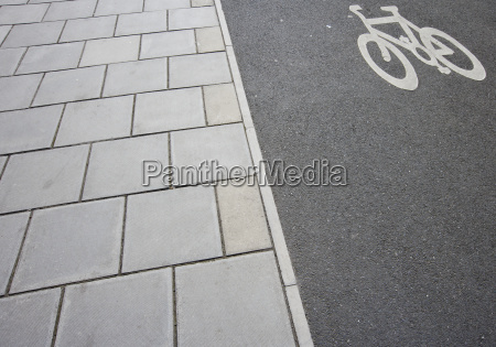 close up of cycle lane on