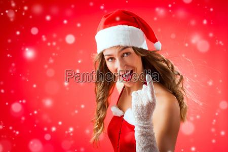santa claus woman warning you with