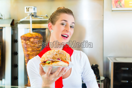 kebab hot doner with fresh