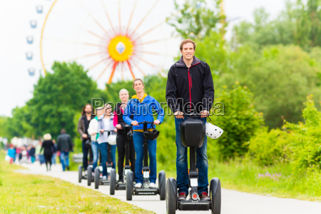tourists having segway sightseeing