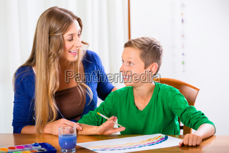 mother and son painting picture