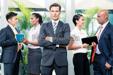 business team meeting with man in