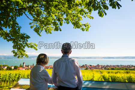 senior couple enjoying view on bodensee