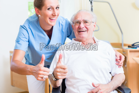senior and old age nurse recommending