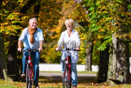 seniors on bicycles having tour in