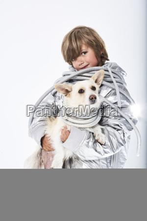 portrait of a boy wearing fancy