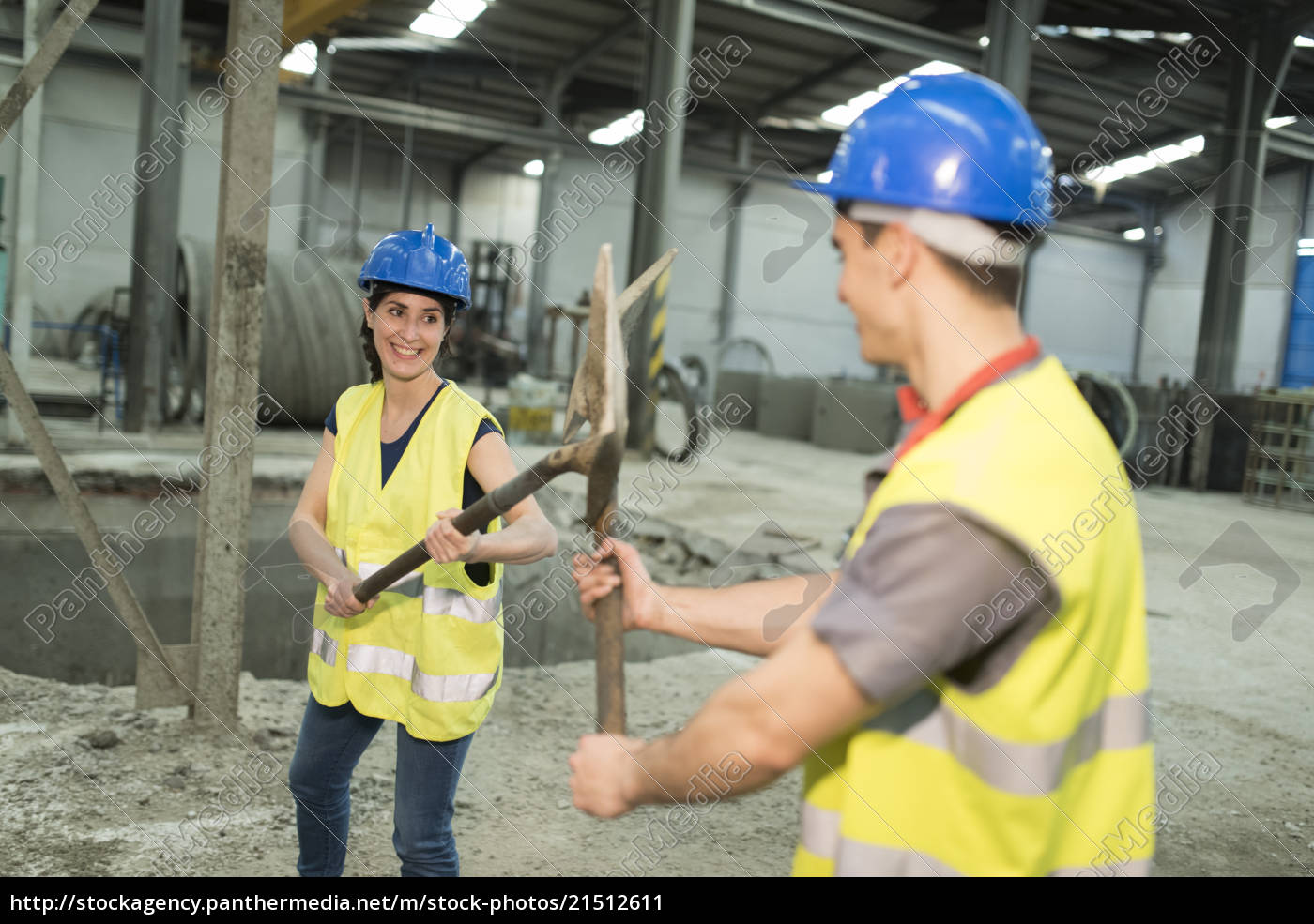 factory, workers, playfighting, with, shovels - 21512611