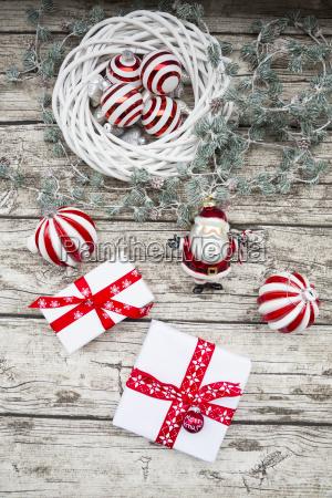 christmas decoration and christmas presents on
