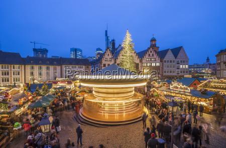 germany frankfurt rotating carousel on christmas