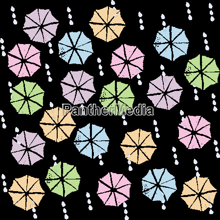 colorful umbrellas in the rainy season