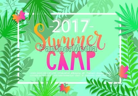 summer camp 2017 lettering on jungle