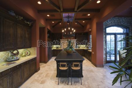 darkwood and beamed ceiling in spacious