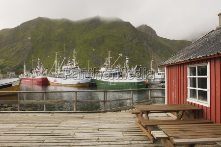 fishing boats in harbour of lofoten